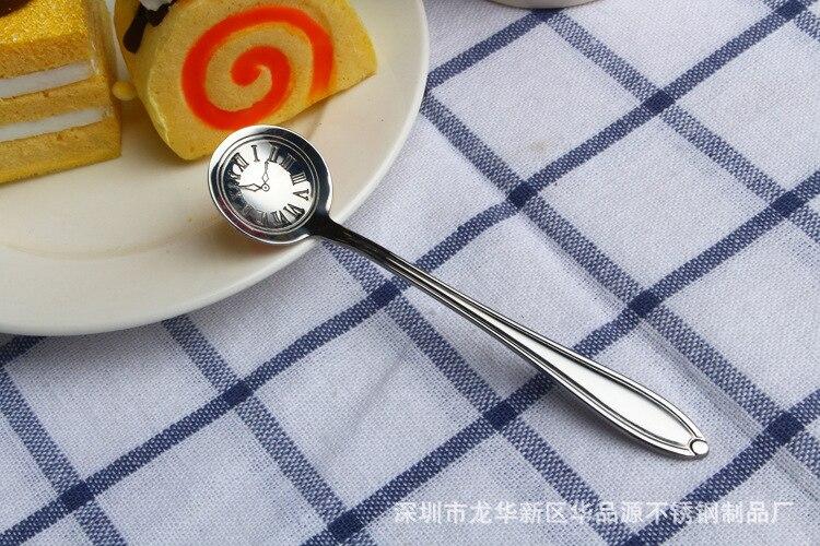 304 кофейная ложка из нержавеющей стали, помешивающая чайная ложка, милая мультяшная кошка, hello kitty, совок, Дораэмон, часы, время, Rilakkuma, ложка с медведем - Цвет: silver Clock dail