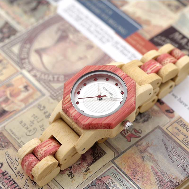 Watch Wood Wristwatches with Wooden Band Female Watches Lady Quartz Watch relogio feminino (6)