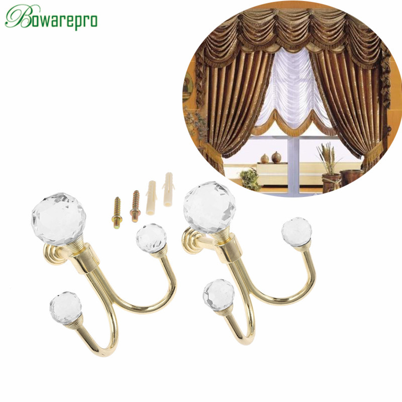bowarepro 2pcs Crystal Ball Curtain Hooks Tassel Wall Tie Back Hanger Holder Curtain Hanging Tools Towel For Cloth-hat Hook Hot! цена 2017