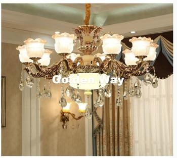 Free Shipping Luxury European Design Lustres de Cristal Modern AC Blue Antique Lamp Zinc Alloy Living Room LED Chandelier Lamp