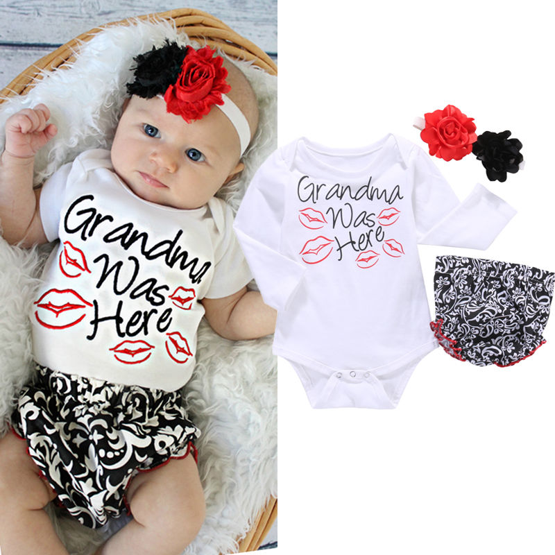 b14ec9badab7 2016 Cotton Baby Clothing Toddler Newborn Baby Girls Clothes Infant Romper  Ruffles Flower Pants Outfit Set