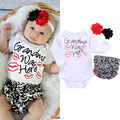 2016 Algodão Roupa Do Bebê Da Criança Do Bebê Recém-nascido Meninas Roupa Infantil Romper Ruffles Flor Conjunto Roupa Calças