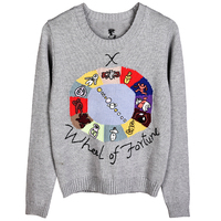Runway Women's Cotton Sweaters Cartoon Embroidery Patchwork Jacquard Pullover 2018 Autumn Winter Female O neck Jumper Short Top