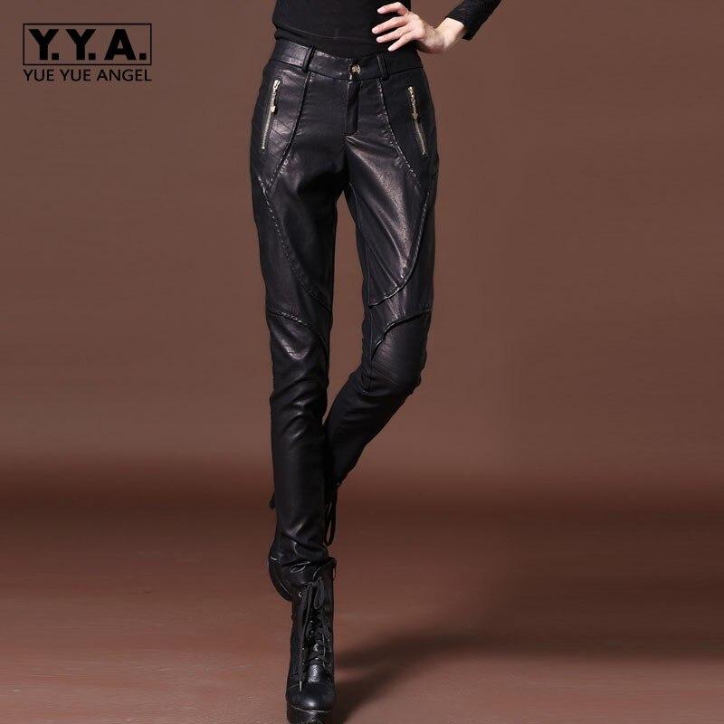 Skinny Cuir Slim Taille En Basse Doublure Polaire Moulant Pu Legging Fit Femmes Biker Streetwear Décontracté Pantalon Black 7vqTw4Ix