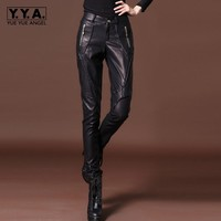 Women Fleece Lining Pu Leather Pencil Pants Casual Low Waist Skinny Leggings Trousers Slim Fit Streetwear Biker Leather Pants