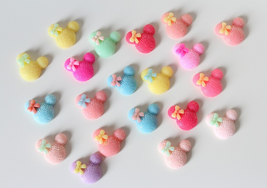 200pcs 20mm Flatback Bling Mouse Cabs - DIY Jewelry decor, scrapbook, hair bow clips