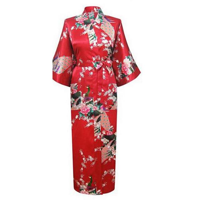 Floral vermelho Mulheres Sexy Robe de Cetim Camisola Sleepwear Roupão de Impressão Flor Plus Size S M L XL XXL XXXL
