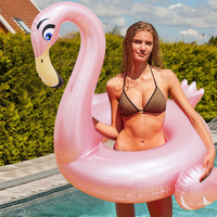 140cm Giant Rose Gold Flamingo Inflatable Swimming Ring For Adult Children Summer Party Pool Float Water Lounger boia piscina