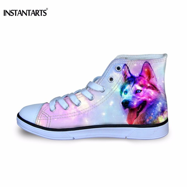 e812f4ab1c INSTANTARTS Colorful Animal Wolf Printing Childrens Sport Shoes Stylish  High Top Sneaker Shoes for Girls Boy Classic Canvas Shoe