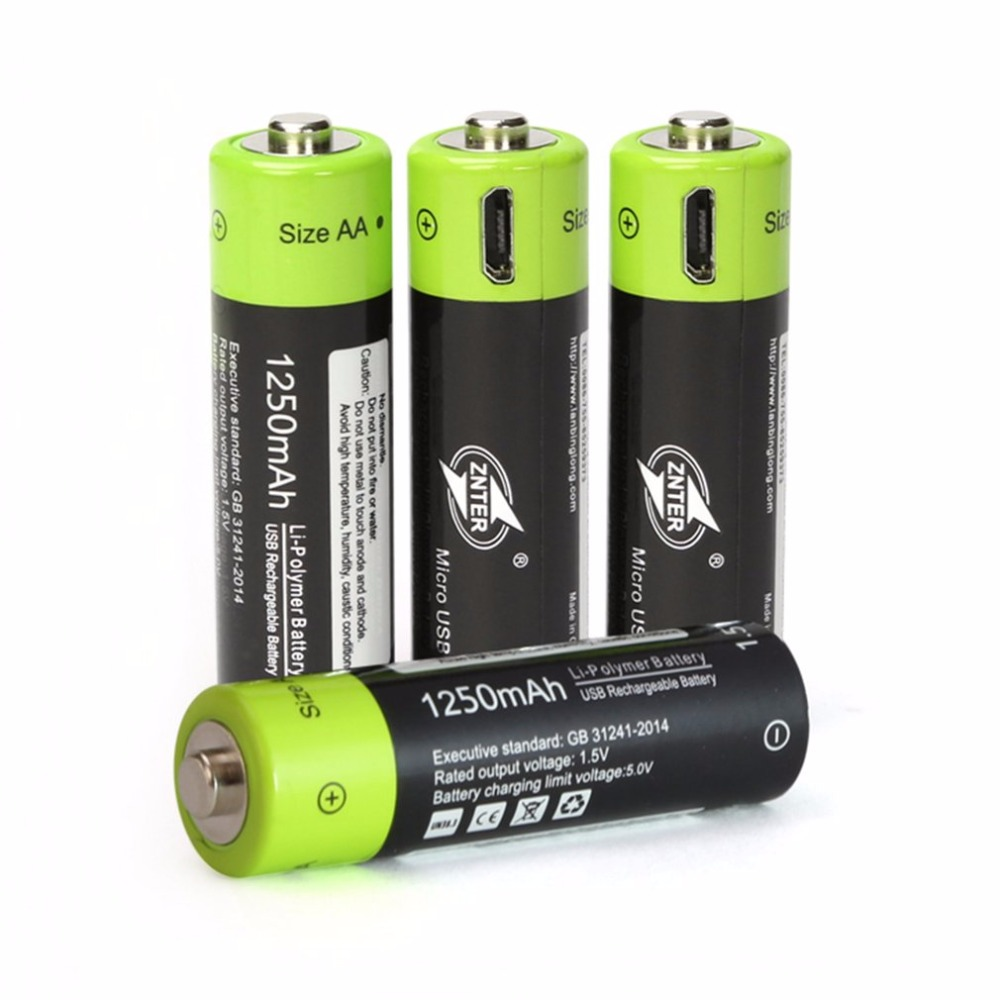 1-4pcs <font><b>1.5V</b></font> <font><b>AA</b></font> 1250mAh Li-polymer <font><b>Rechargeable</b></font> <font><b>Battery</b></font> USB Charging <font><b>Lithium</b></font> <font><b>Battery</b></font> Bateria with Micro USB Cable Quick Charging image