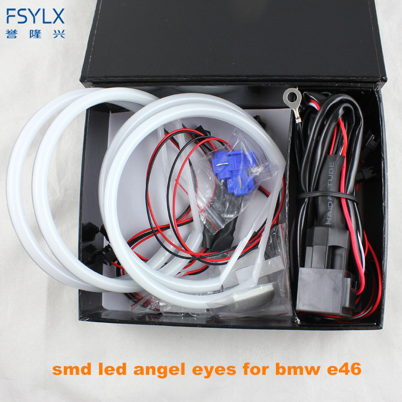 цена на FSYLX Ultra bright 4*131mm 3014 SMD LED Angel Eyes for BMW E46 E39 E38 E36 projector led headlight halo ring kit white for E46