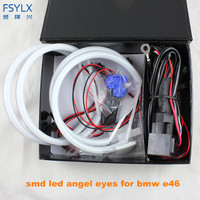 FSYLX Ultra bright 4*131mm 3014 SMD LED Angel Eyes for BMW E46 E39 E38 E36 projector led headlight halo ring kit white for E46