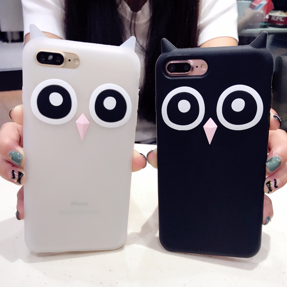 Cute 3D Night Owl Case For iPhone 7 8 Plus i 7 8 6 Lovely Cartoon Animal Ear Silicone Protection Cover For iPhone 6 6S Plus Case