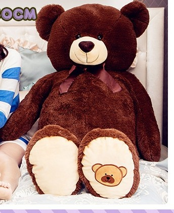 big lovely bear toy plush toy cute bow stuffed teddy bear birthday gift about 100cm dark brown new creative plush bear toy cute lying bow teddy bear doll gift about 50cm