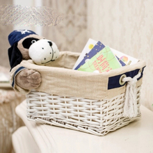 Rattan storage basket fabric toy snack cosmetics desktop box cotton and linen woven