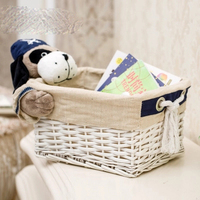 Rattan storage basket fabric storage basket toy snack cosmetics desktop storage storage box cotton and linen woven basket