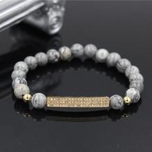 PINIYA Micro Pave CZ Bar Charm Bracelet Women Men Gift Handmade Natural Marble Stone Bead Bar Charm Bracelet Jewelry wml luxury natural stone bead men bracelet micro pave cz eyes charm bracelets