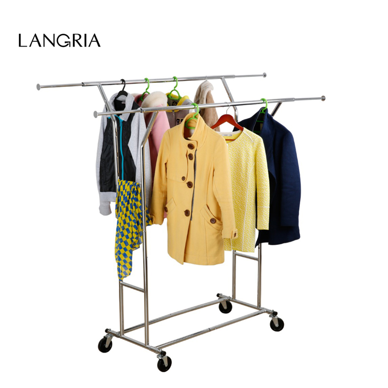 langria heavy metal frame collapsible adjustable double rail rolling garment rack clothing rack drying rack hanging - Clothes Hanger Rack