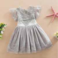 Summer Girls Clothes Puffy Sleeve Lace Dresses Grey Party Princess Girls Dress Flower Tutu Tulle Children