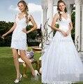 Short Beaded Lace Appliques 2 in 1  two Pieces Wedding Dresses Detachable Skirt vestido de noiva robe de mariage Bridal Gowns