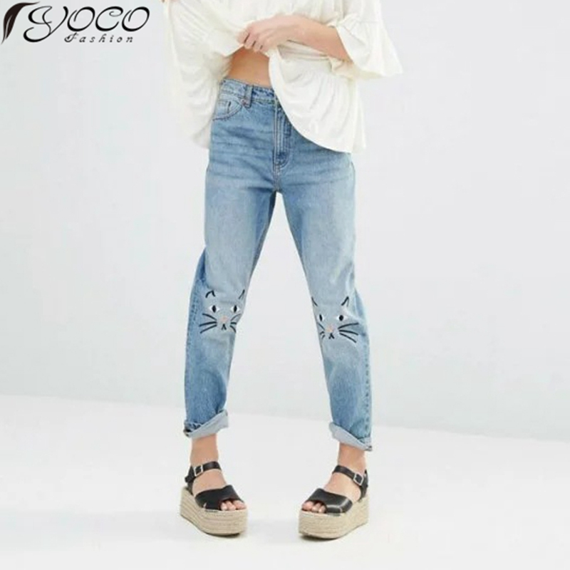 New Arrival Women's Cat Face Embroidered Jeans Denim Pants YC12491