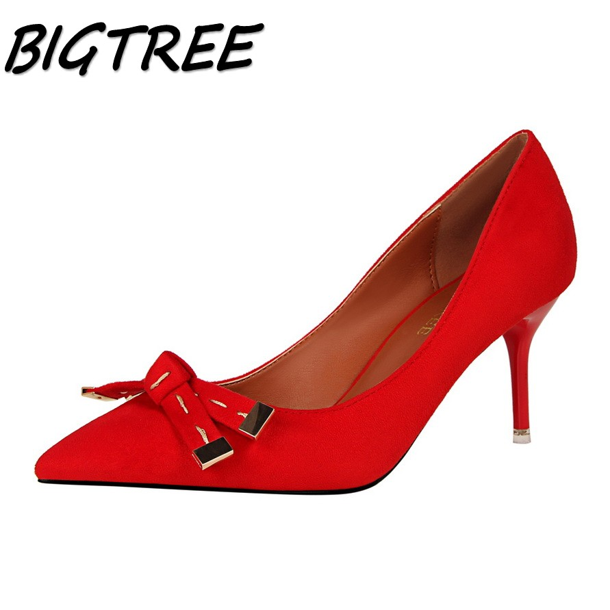 BIGTREE women Pointed Toe High heel shoes woman Spiraea Butterfly-knot pumps ladies Party Wedding shallow flock Single shoes new flock high big size 11 12 women shoes wedges pointed toe woman ladies butterfly knot casual spring autumn sweet single shoes