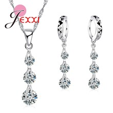 Fashion Attractive Stylish CZ Crystal Jewelry For Women Lady Girl Jewelry Sets Pendentes Necklace And Earrings Set Wholesale(China)