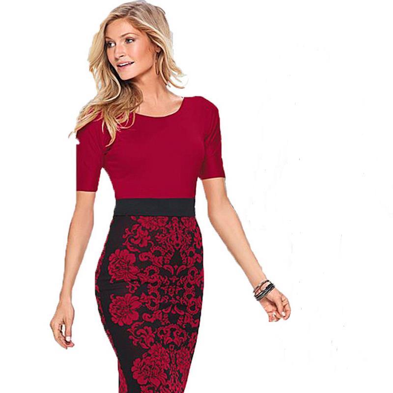 ad14e6b18b4c5 Diz-uzunluk Wiggle Elbise Bayan Zarif çizgili boyun kısa kollu Geri Fermuar  Çalışma İş Casual Parti Kalem Kılıf elbise