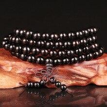 6 مللي متر 8 مللي متر 10 مللي متر 12 مللي متر * 108 خرز خشب الأبنوس البوذية بوذا التأمل الصلاة خرز مالا سوار النساء الرجال اليوغا مجوهرات