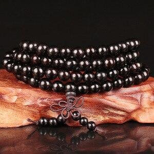 Image 1 - 6mm 8mm 10mm 12mm * 108 Perlen Ebenholz Buddhistischen Buddha Meditation Gebetskette Mala Armband frauen Männer Yoga Schmuck