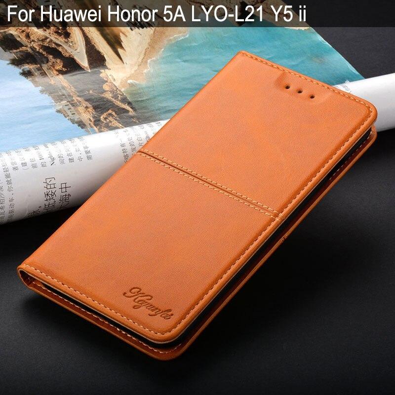 Caso para huawei honor 5a LYO-L21 Y5 ii coque capa de luxo Do Vintage Aleta de Couro com suporte para huawei honor 5a caso funda capa