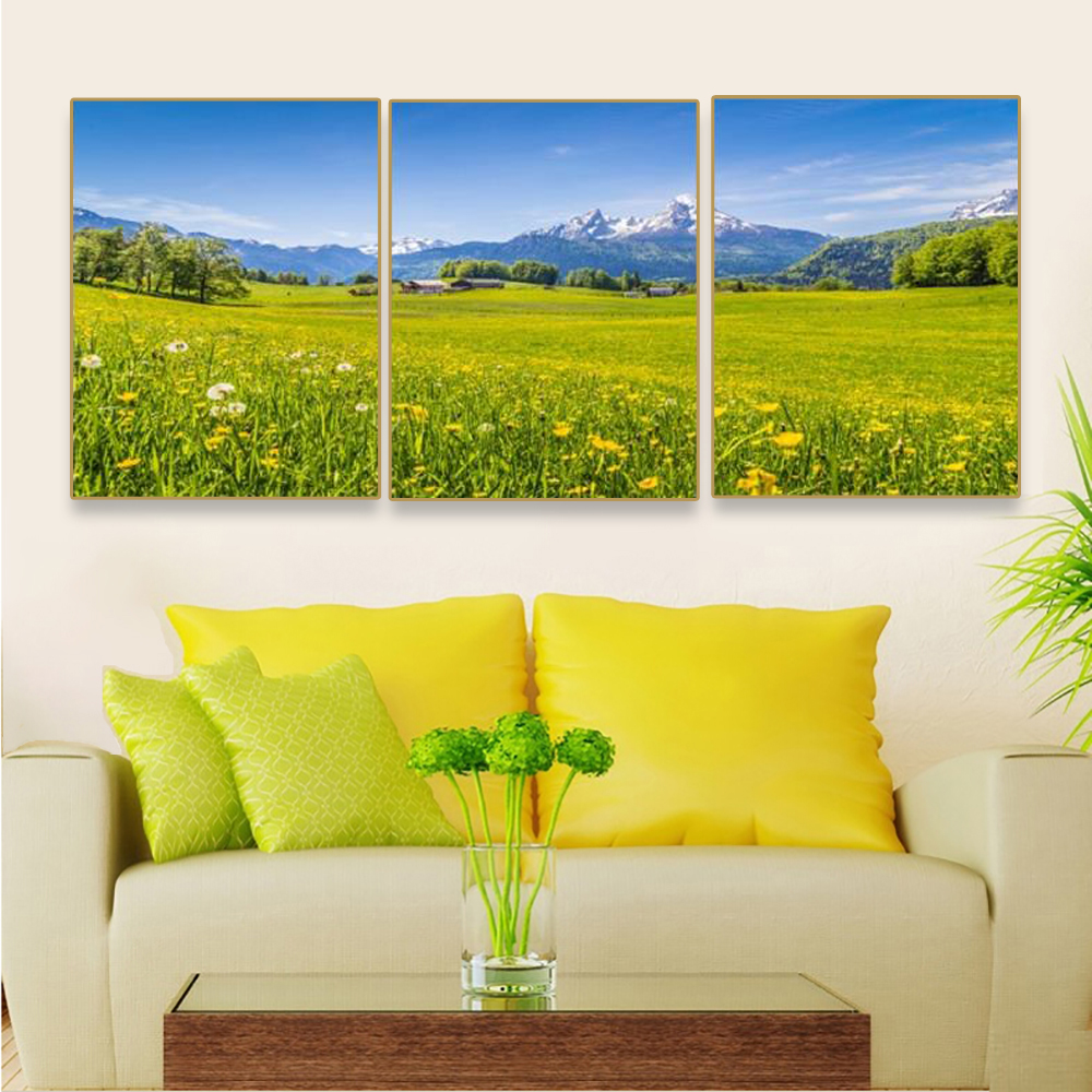 Laeacco Canvas Painting Calligraphy 3 Panel Sky Wall Art Spring Garden Posters and Prints Nordic Living Room Home Decor in Painting Calligraphy from Home Garden