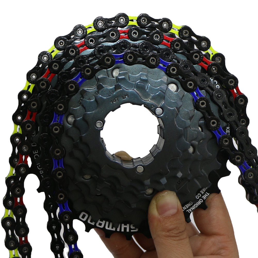 US $69.9  colored Super Light double X chain 10s 10 speed 30s hollow palte  116L 116 links MTB mountain road bike racing chain red blue-in Bicycle ...