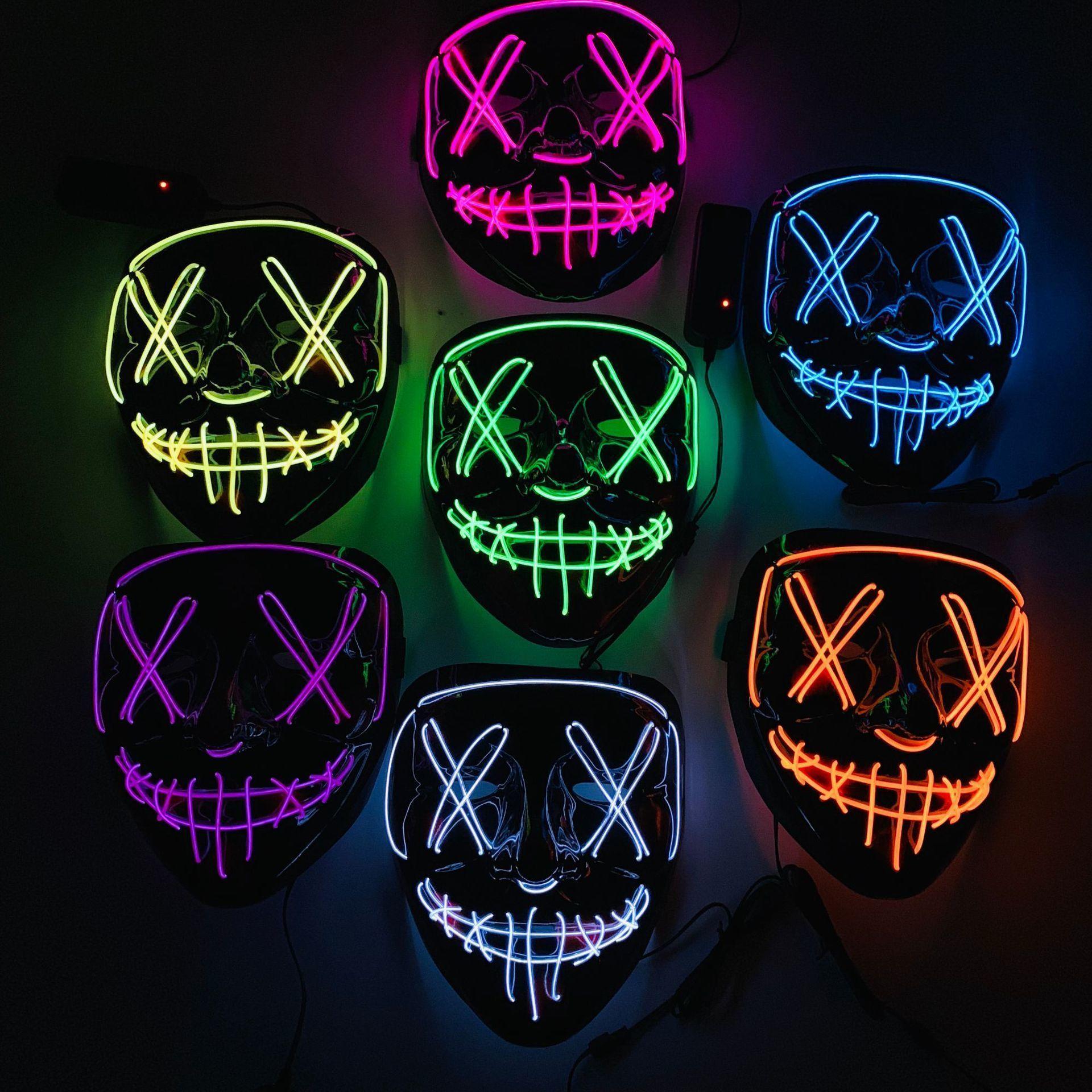 Halloween Mask LED Light Up Party Masks Neon  Cosplay Mascara Horror Glow In Dark Masque V for Vendetta