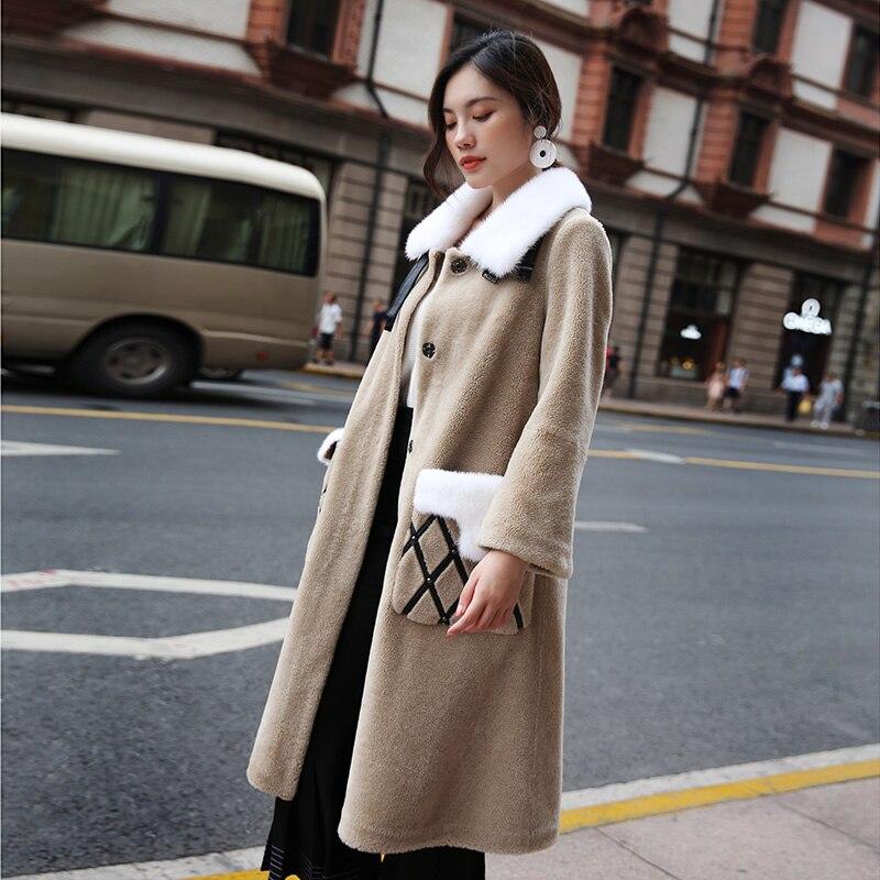 Veste Vêtements Show As Hiver Col Vison Manteau Longs Nouveau Mouton Fourrure Vintage Manteaux Laine Femmes Réel Automne 2018 Lyw101 De qHX4tg