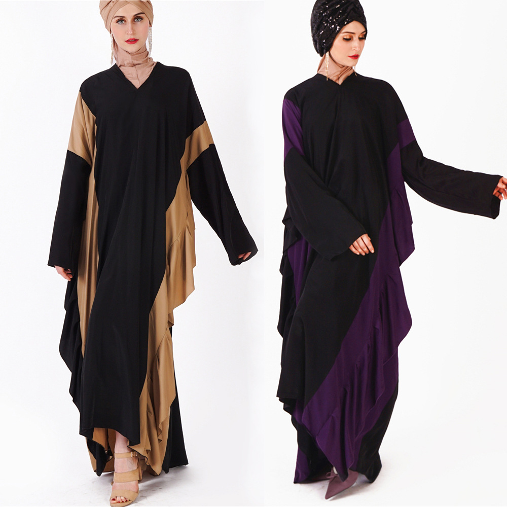 Muslim women's dress new women's long sleeves over women's gown matching color long dress Arab women