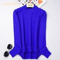 Чистый кашемировый свитер ручной работы вышитые тонкий пуловер водолазка вязаный свитер женский