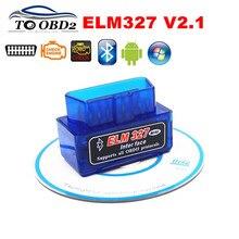 Elm327 super mini azul bluetooth v2.1 obd obdii leitor de código elm 327 funciona android torque/symbian carro scanner diagnóstico