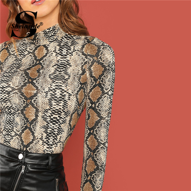 Sheinside Mock Neck Snake Skin Animal Print T-shirt Women Long Sleeve Top 2018 Autumn Womens Clothing Slim Fitted Tee Shirt