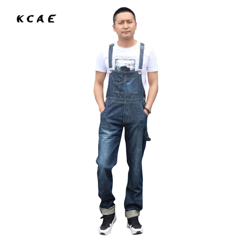 2016 Mens BiB Overalls Vintage Washed Mid Waist Loose Blue Plus Size XS-4XL Jeans Overalls Jumpsuit For Men