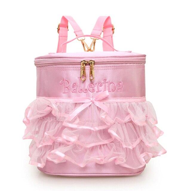 9e11714d52d4 Pink Ballet Bag For Girls Toddler Cute Ribbon Embroidery Dance Bag ...