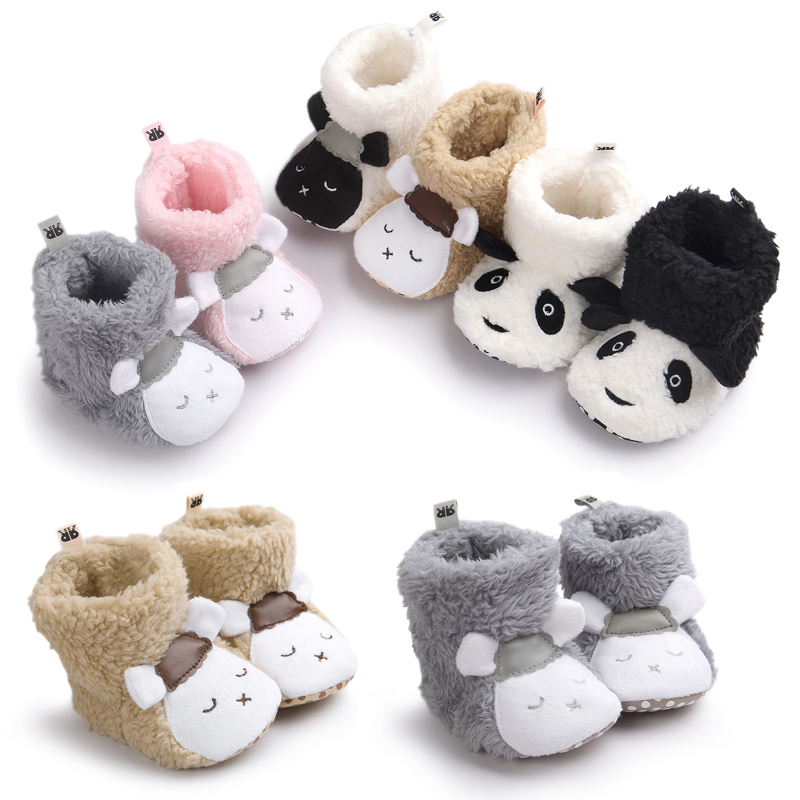 Winter Newborn Baby Infant Toddler Girl Snow Boots Crib Shoes Prewalker Booties Tassel Sole Cloth Cotton Cartoon Boots Toddler