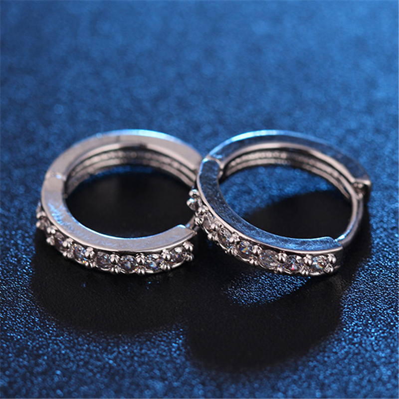 Korean Fashion Anti-allergic Titanium Buckle Tide Stainless Steel Hoop Piercing Round Crystal Earring Ear Stud men woman jewelry