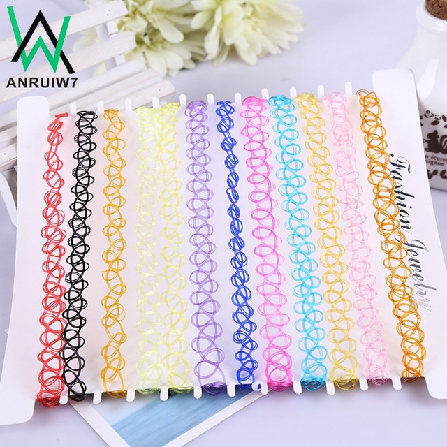 12PCS/lot New Collares Vintage Stretch Tattoo Choker Necklace Women Girls Charm
