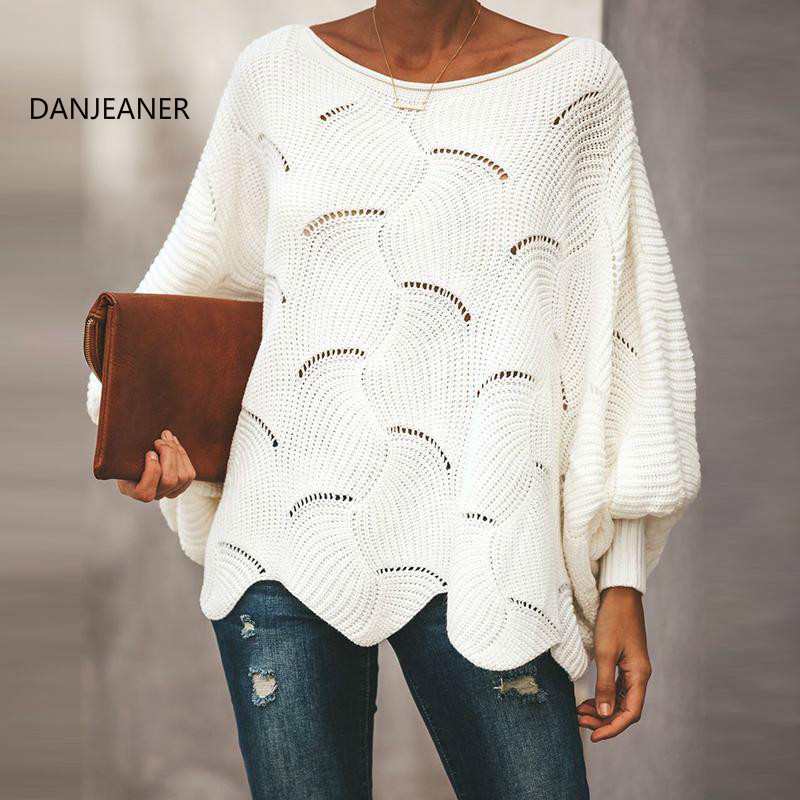 DANJEANER Plus Size Women Thin Pullovers O-Neck Loose Hollow Out Knitted Sweaters  Fashion Batwing Sleeve Irregular Solid Jumper