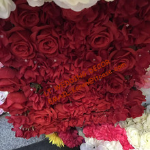 red artificial rose and hydrangea flower wall for wedding backdrop or lawn/pillar road lead decoration