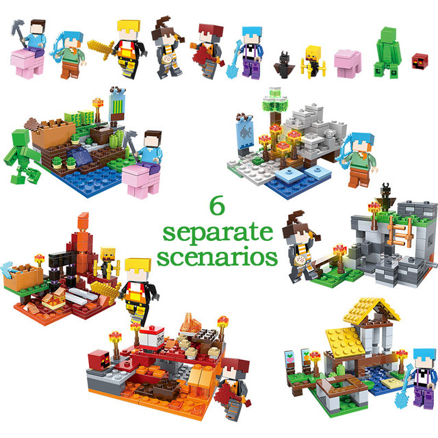 737pcs MY WORLD Compatible Legoinglys Minecrafted Figures Arms Building Blocks Defend Home Zombie Figures DIY Toys For Children 2