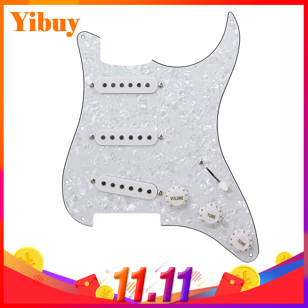 Yibuy Loaded Pickguard white Pearl 3 Single Coil for Guitar white 3 single coil pickup loaded pre wired sss pickguard set for fenderstrat st guitar parts