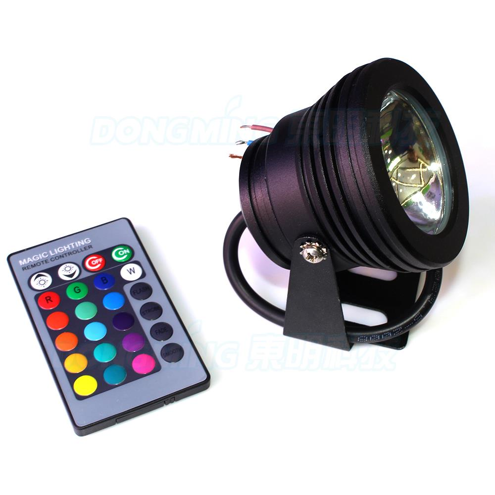 10W 85-265v rgb LED Underwater Light Waterproof IP68 flat lens black RGB rgb led pool lights Colors Change With 24 KEY IR Remote