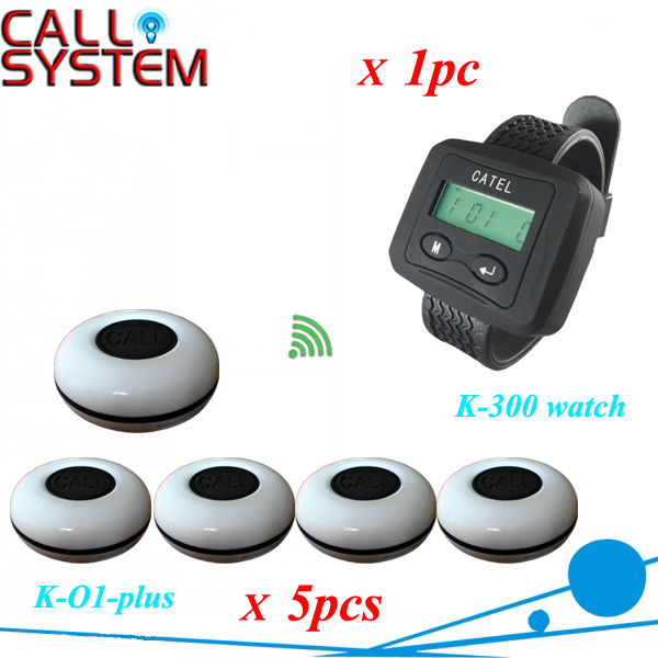 One set wireless system Waiter caller bell service 1 watch wrist pager with 5pcs table customer button CE Passed restaurant wireless table bell system 1 counter monitor 5 wrist watch pager 40 button 3 key call bill cancel
